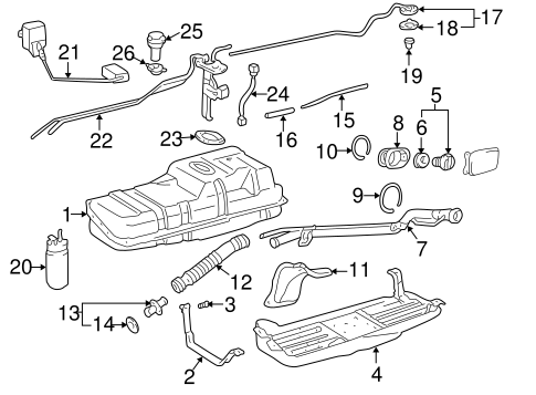 Genuine OEM FUEL SYSTEM COMPONENTS Parts for 2001 Toyota