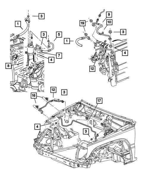 Air Conditioner and Heater Plumbing for 2005 Jeep Liberty