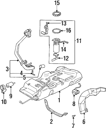 FUEL SYSTEM COMPONENTS Parts for 1998 Oldsmobile Silhouette