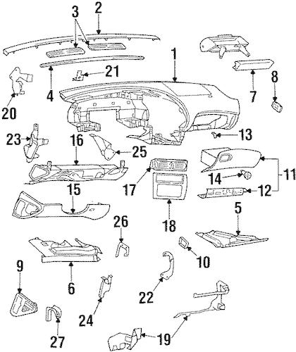 OEM INSTRUMENT PANEL for 1998 Oldsmobile Aurora