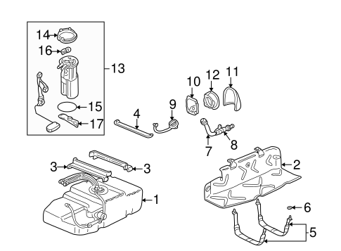 OEM 2000 Chevrolet Astro Fuel System Components Parts