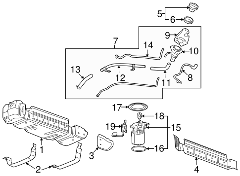 OEM 2010 Cadillac Escalade EXT Fuel System Components