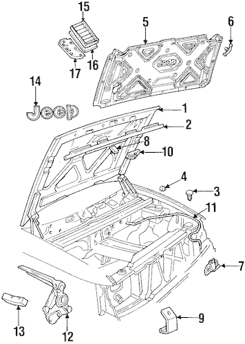 HOOD & COMPONENTS for 1998 Jeep Grand Cherokee