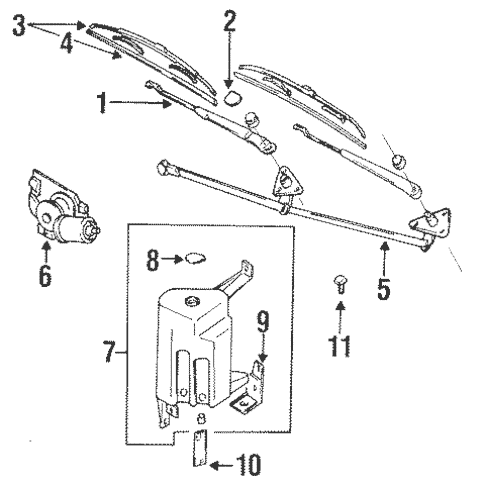 Wiper & Washer Components for 1996 Mitsubishi Mirage