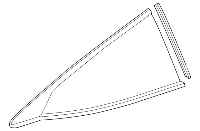 Glass Assembly, L Quarter Windshield (Green)(Magna