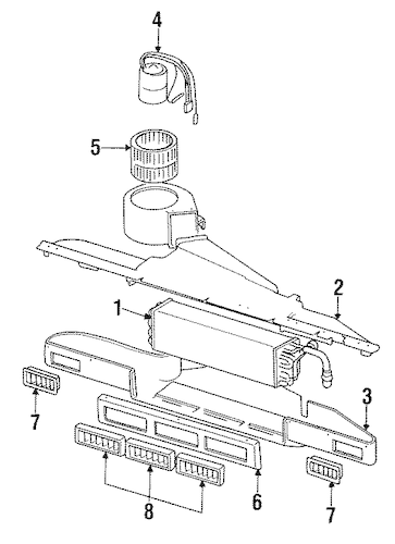 Evaporator Components for 1993 Jeep Wrangler Parts