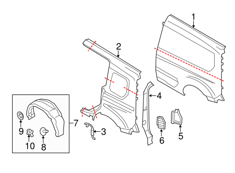 SIDE PANEL & COMPONENTS for 2014 Ford Transit Connect