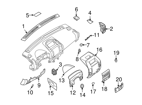 Instrument Panel Components for 2004 Nissan Pathfinder