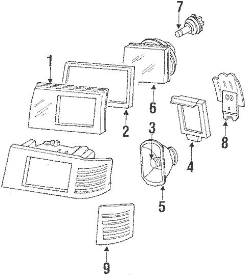 Headlamp Components for 1990 Mercedes-Benz 190 E