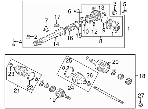 AXLE & DIFFERENTIAL Parts for 2012 Buick Enclave