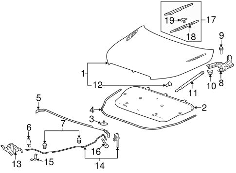OEM 2010 Buick LaCrosse Hood & Components Parts