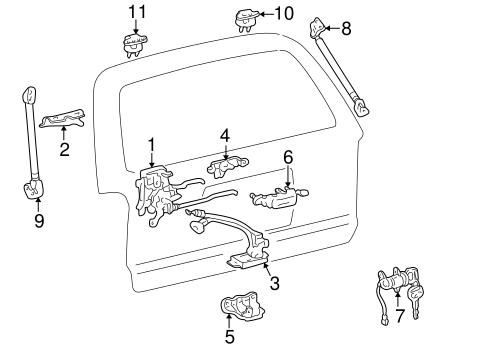 Genuine OEM Back Door Parts for 2000 Toyota 4Runner SR5