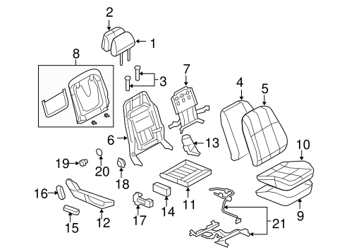 FRONT SEAT COMPONENTS for 2008 Pontiac G8 (Base)