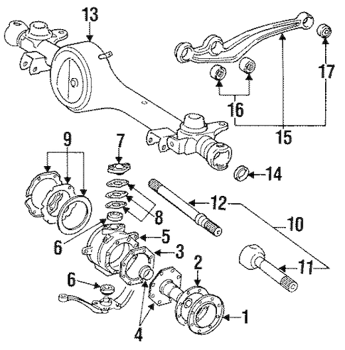 Genuine OEM FRONT AXLE & CARRIER Parts for 1993 Toyota
