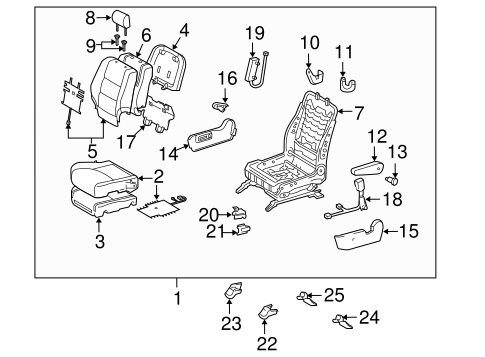Genuine OEM Front Seat Components Parts for 2007 Toyota