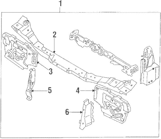 1986-1991 Mazda RX-7 Radiator Support FB01-53-100N