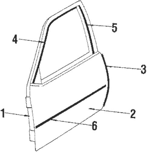 Door & Components for 1985 Pontiac J2000 Sunbird