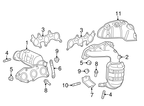 Genuine OEM Exhaust Manifold Parts for 2013 Toyota Sienna