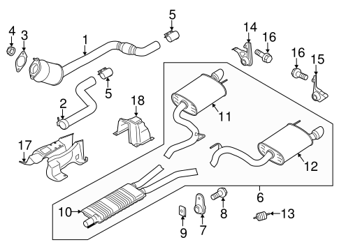 OEM 2015 Ford Mustang Exhaust Components Parts