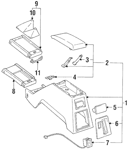 Genuine OEM Center Console Parts for 1991 Toyota 4Runner