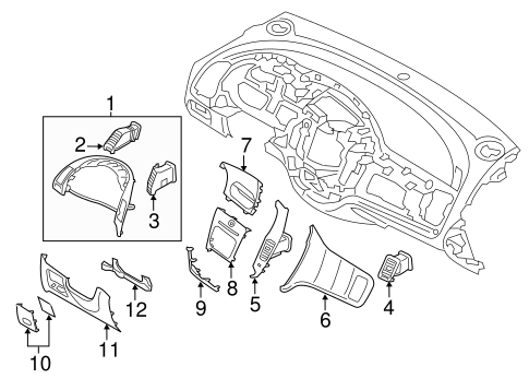 Instrument Panel Components for 2015 Kia Forte