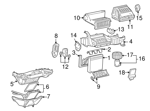 OEM 2005 Pontiac G6 Evaporator & Heater Components Parts