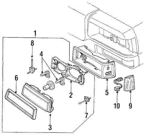 OEM 1988 Chevrolet Caprice Headlamp Components Parts
