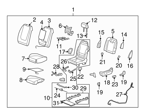 Driver Seat Components for 2009 Chevrolet Malibu