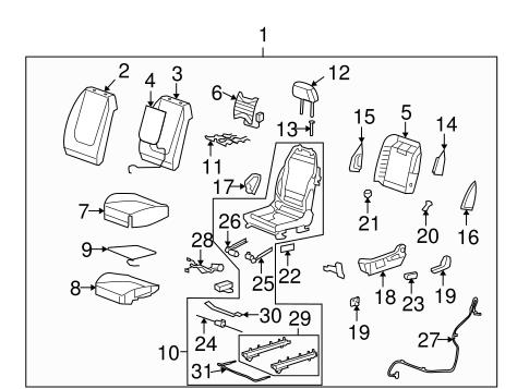 OEM 2009 Chevrolet Malibu Driver Seat Components Parts