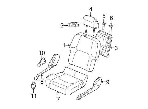 Passenger Seat Components for 2006 Nissan Xterra