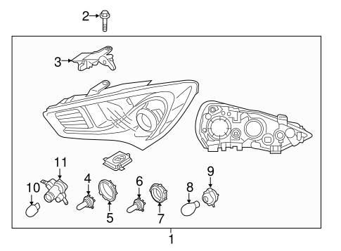 Headlamp Components for 2014 Hyundai Genesis Coupe