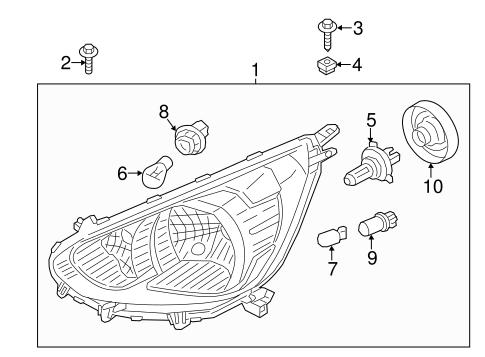 Headlamp Components for 2015 Mitsubishi Mirage