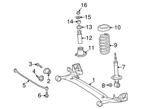 Genuine OEM Rear Suspension Parts for 2015 Toyota Corolla
