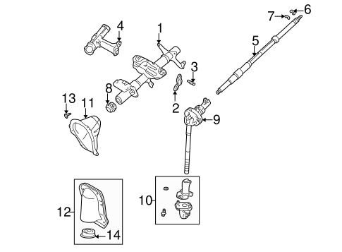 Genuine OEM STEERING COLUMN ASSEMBLY Parts for 2003 Toyota