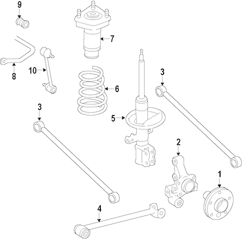 Genuine OEM REAR SUSPENSION Parts for 1996 Toyota Corolla