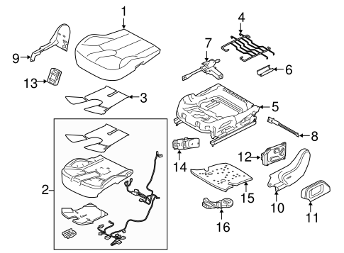 Passenger Seat Components for 2012 Land Rover Range Rover