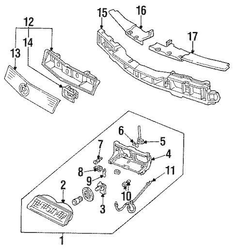 OEM 1994 Pontiac Grand Prix Headlamp Components Parts