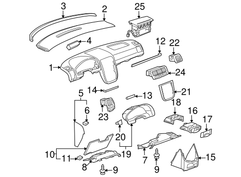 INSTRUMENT PANEL COMPONENTS for 2005 Buick Terraza