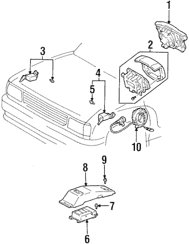 Air Bag Components for 1996 Toyota T100