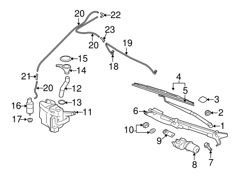 WIPER & WASHER COMPONENTS for 2015 Mitsubishi Lancer