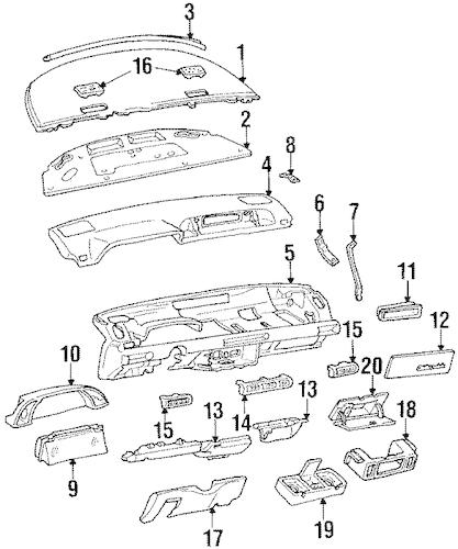 OEM 1992 Oldsmobile Silhouette Instrument Panel Parts