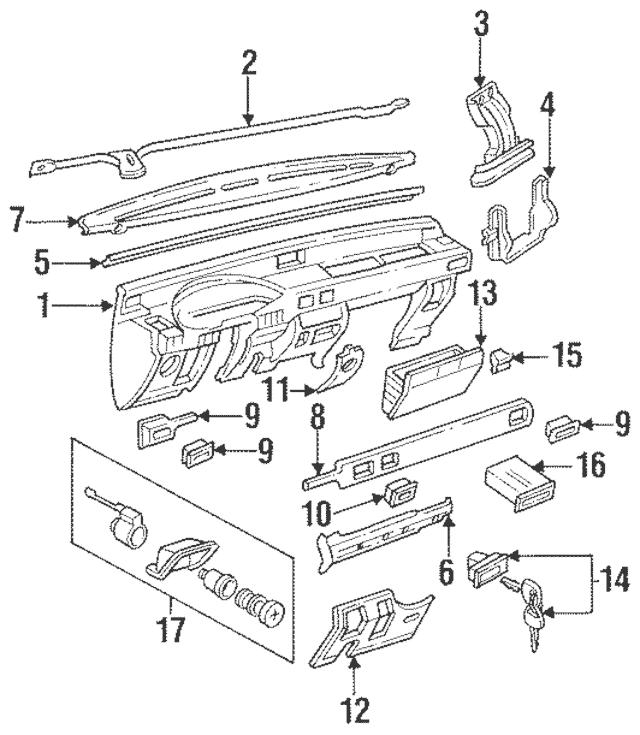 1994-1995 Honda Passport Cylinder Assembly, Glove Box Lock