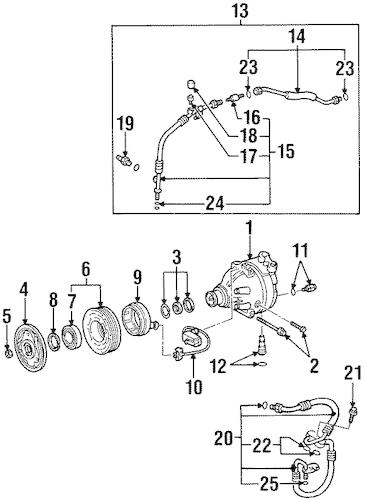 OEM CONDENSER, COMPRESSOR & LINES for 2000 Chevrolet Prizm