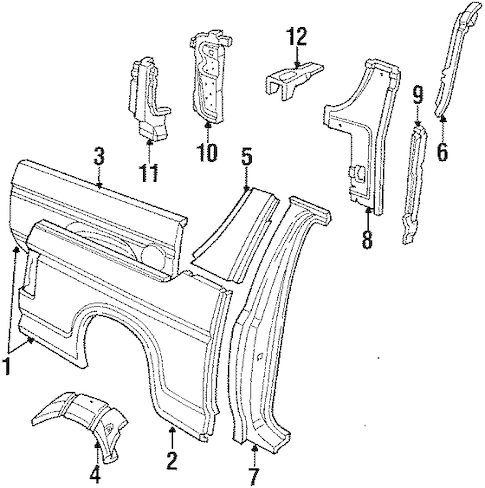QUARTER PANEL & COMPONENTS for 1991 Ford Bronco