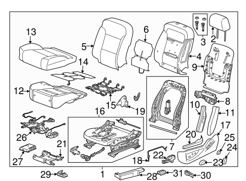 OEM 2016 GMC Sierra 2500 HD Driver Seat Components Parts