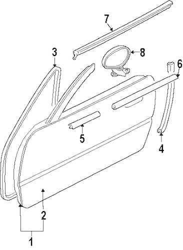 DOOR & COMPONENTS for 1991 Mazda Miata