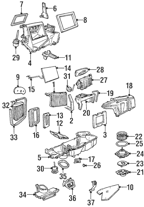 Evaporator & Heater Components for 1999 Lincoln Navigator