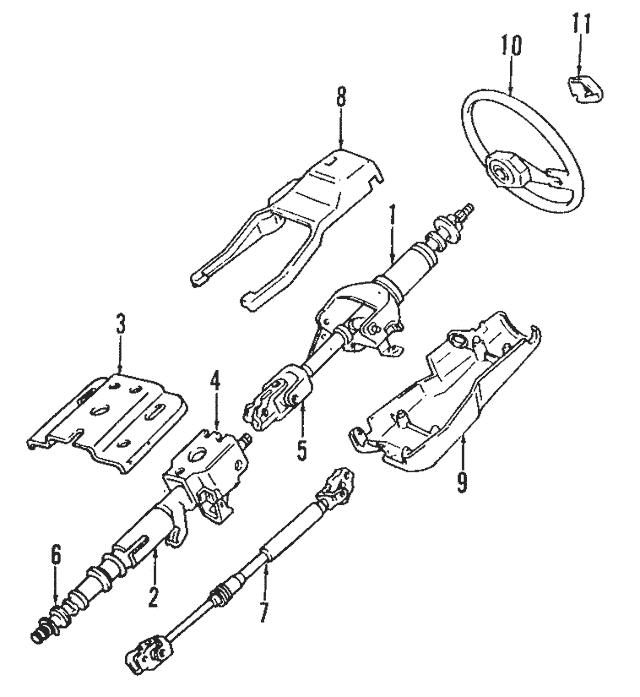 1987-1996 Mitsubishi Mighty Max Steering Column MB412722