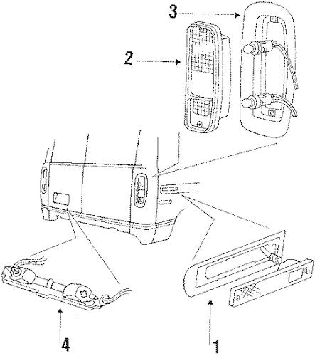 Combination Lamps for 1986 Ford E-250 Econoline Club Wagon