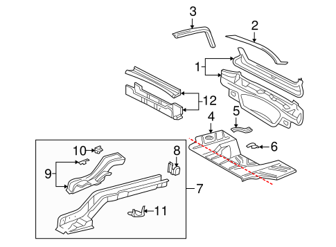 OEM 2001 Buick LeSabre Rear Floor & Rails Parts